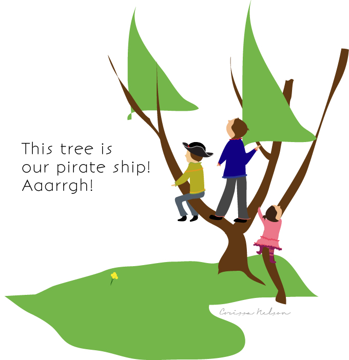 kids pretending, pirate ship, climbing trees