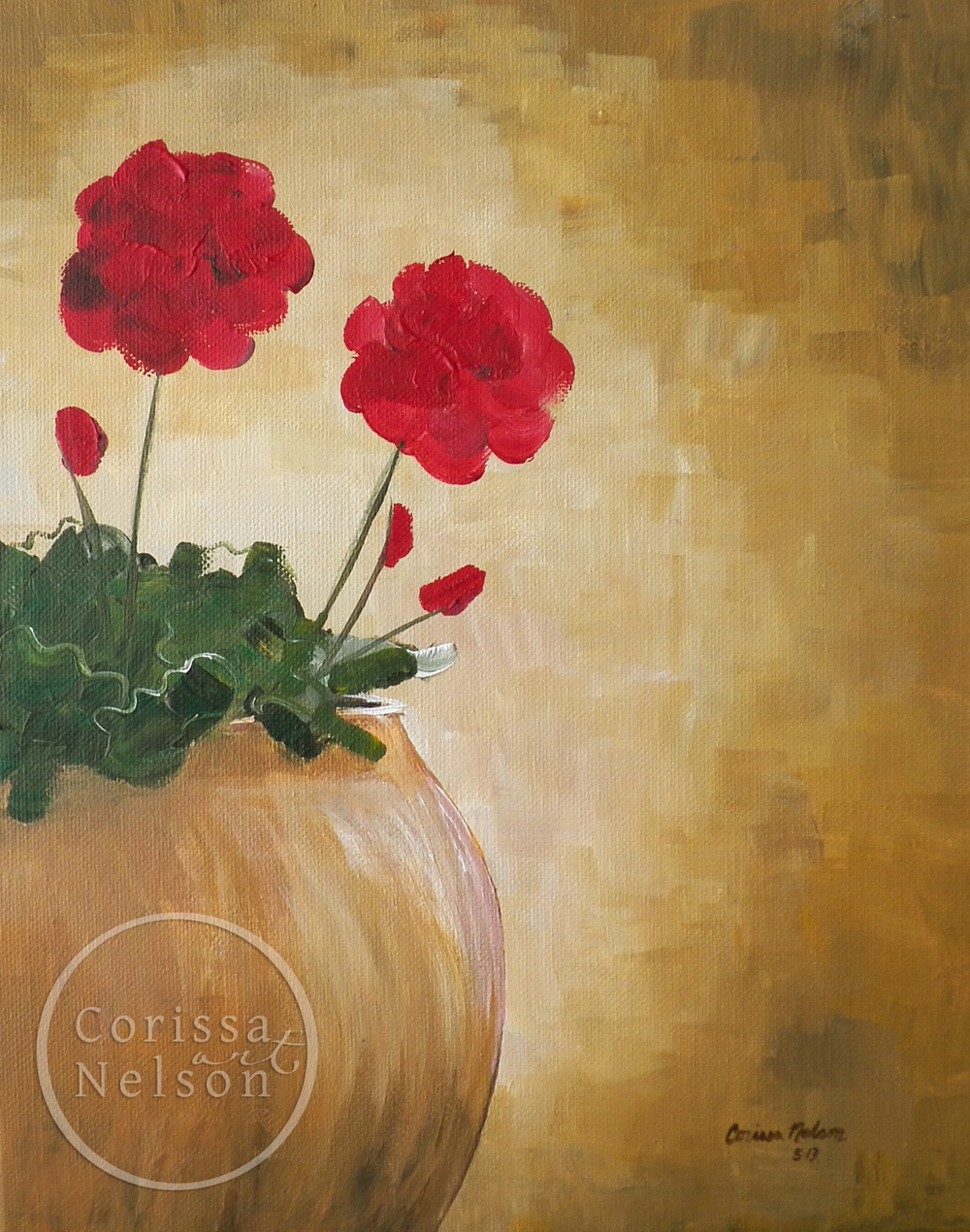 Geraniums in a Clay Pot, acrylic painting, original artwork, garden art, flower paintings