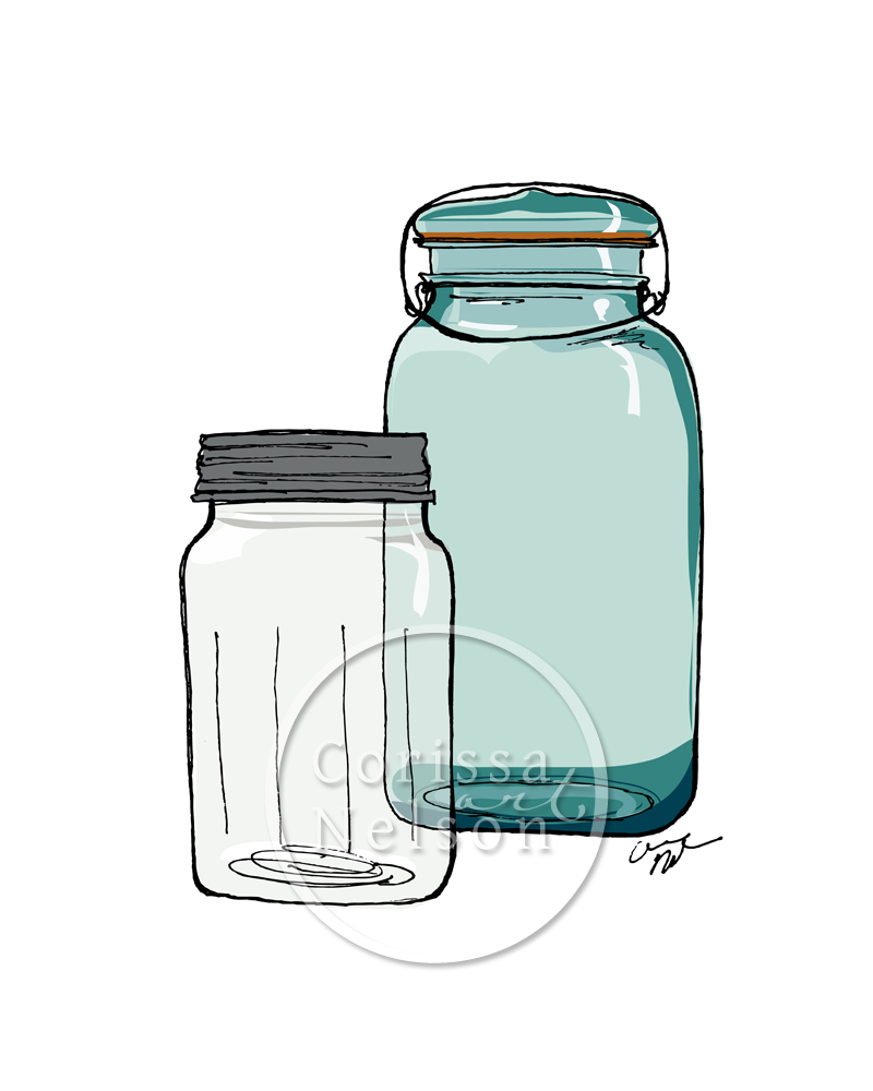 mixed media, art illustration, mason jar sketch, canning jar, blue, turquoise jar