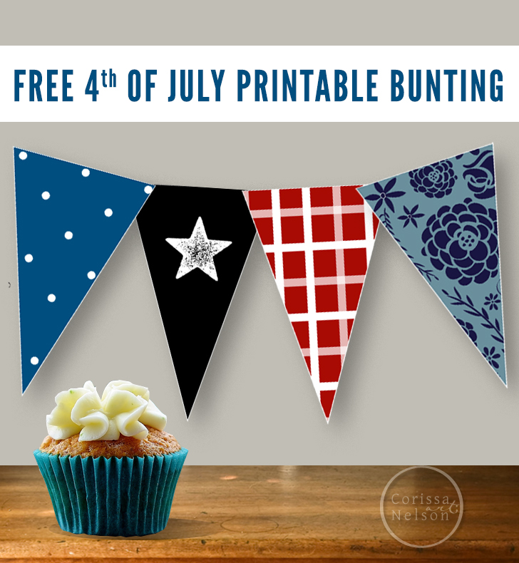 Free Printable Patriotic Bunting from Corissa Nelson Art
