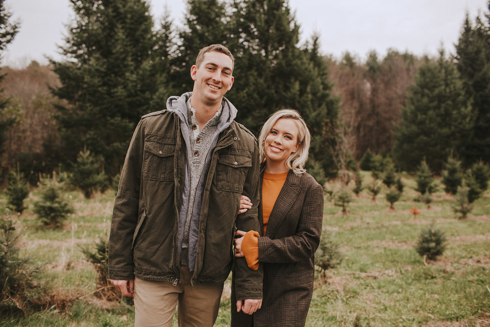 Boston Christmas Tree Farm Engagement Session