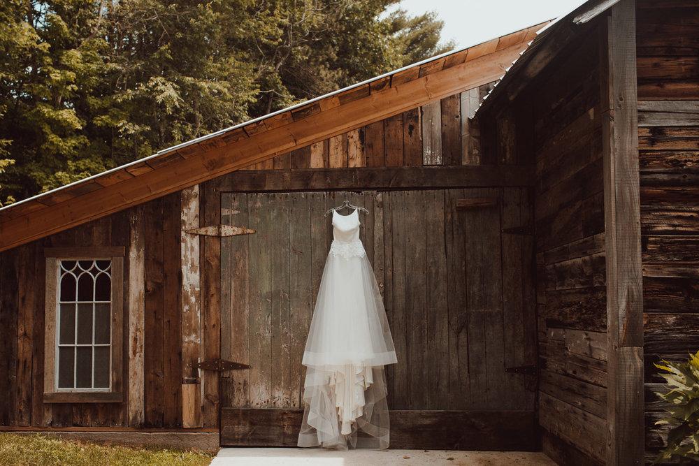 Dress Hanging on Barn Details