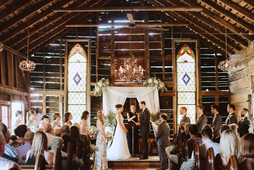 Rustic Barn Wedding Ceremony at Bishop Farm