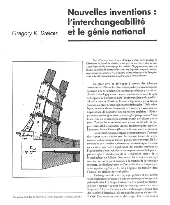 """Dreicer, """"Nouvelles inventions,""""  Culture Technique  26 (1992)"""
