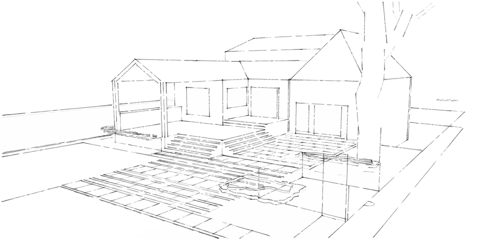 Conceptual view of  rear deck, covered shelter and terrace