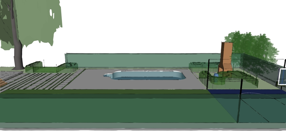 Conceptual view to pool from soccer field