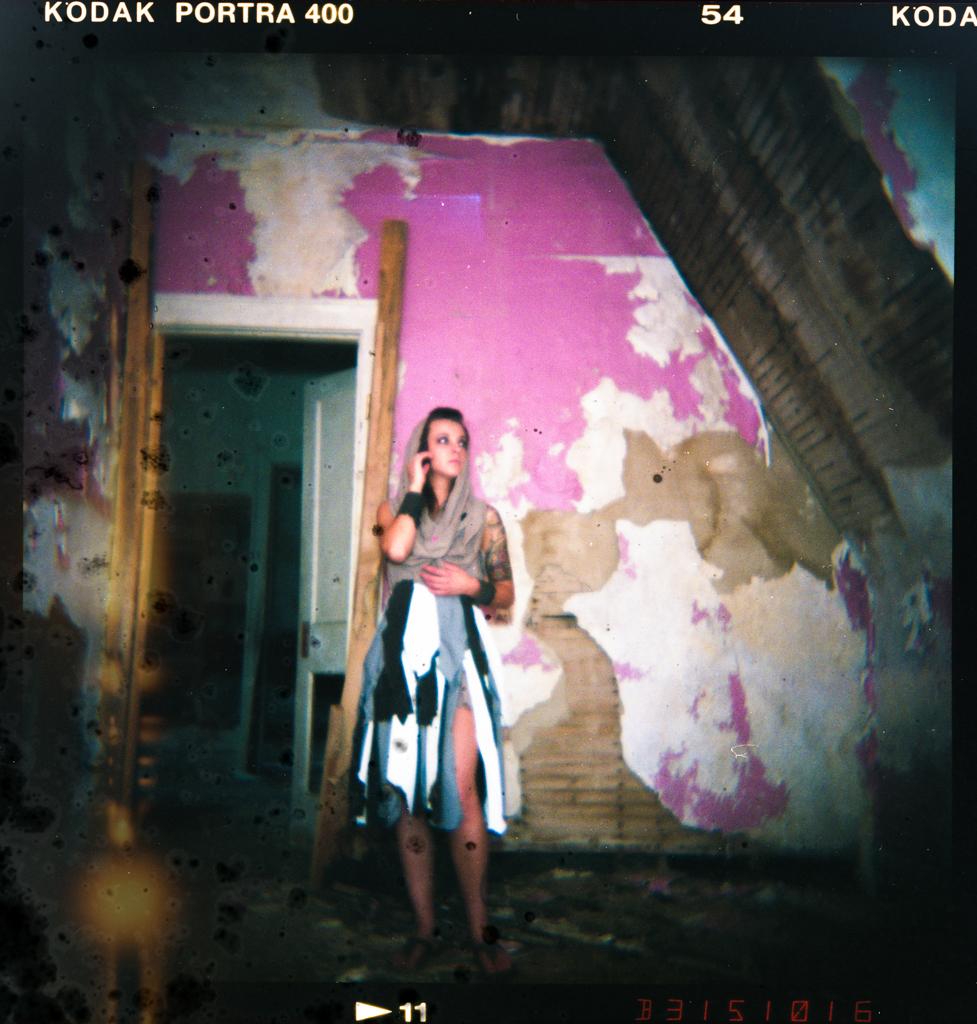 Camera: Holga 120  Medium: Portra 400  Lens: Who knows, it came with the Holga!  Model: Patricia Dudley