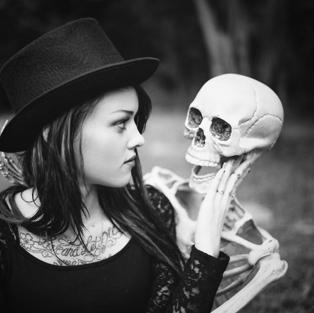 Model: Mykayla Mckenzie  Model: Bob The Skeleton  Cameras used: Hasselblad 501CM  Film:Hp5+ 120 medium format