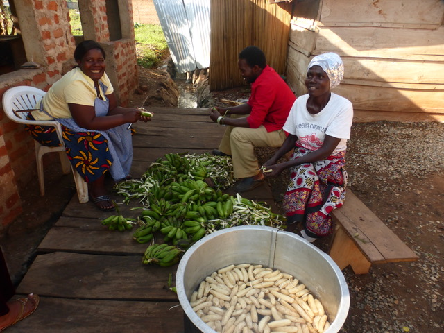 "These volunteers are serving in the ""kitchen"" of Pearl Haven, peeling ""matooke"", a very common vegetable in Uganda."
