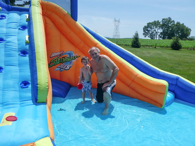 "Papa and Nathan spent about 2.5 hours in the ""pool,"" filling the air with laughter and splashes."