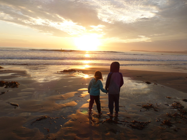 A sunset captivates even Littles