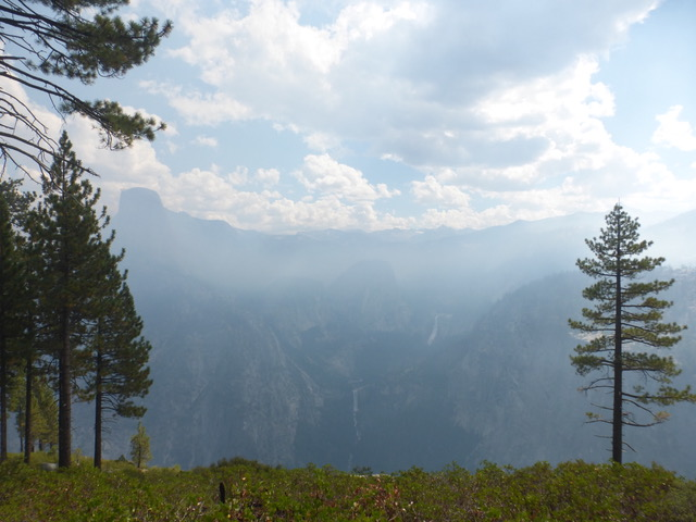 The smoky haze obscured the view, but you can make out Nevada and Vernal Falls if you look closely.
