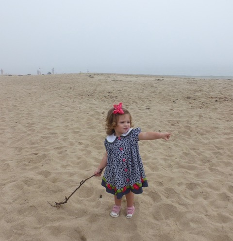 Rachel enjoying Singing Beach in her Sunday finest.