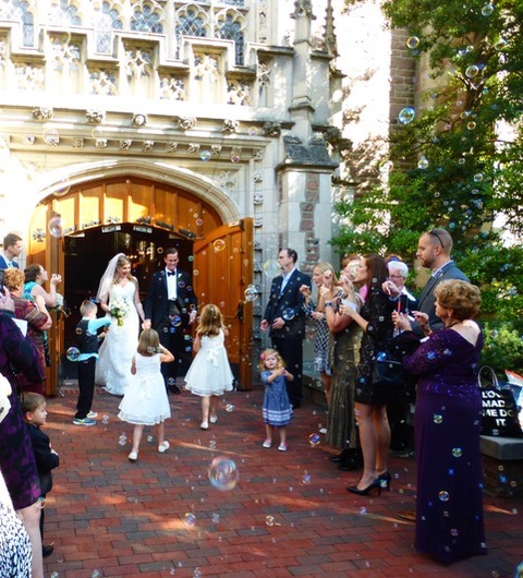 Ian and Elizabeth emerge from the Graham Chapel on the campus of Washington University after a God-honoring ceremony.