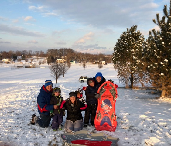 We were so thankful for enough snow for sledding several days in a row. Papa, Gigi, and Auntie Lisa, along with Brandon, Ana, and Nathan, had a BLAST.
