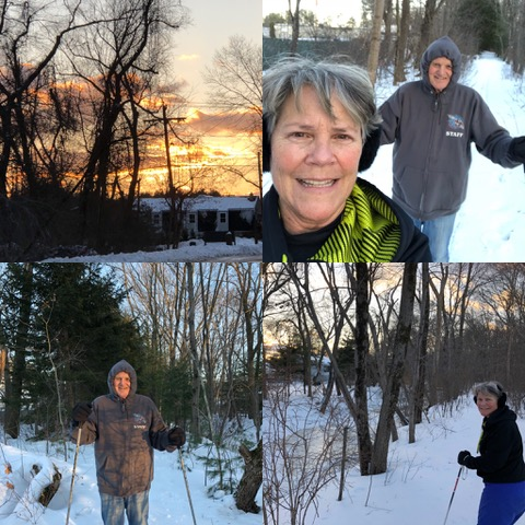 The absolute delight of cross-country skiing in our own backyard (our property abuts conservation land) to a setting sun in a winter sky. Love it!!