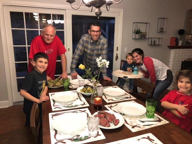 Happy reunion marked by a yummy steak dinner and artichokes.