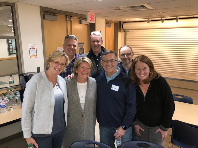 Jim Petipas (back left) and his wife Beth (front right) organized the LCA Parents' Night for which we spoke. One of the highlights was reconnecting with them!