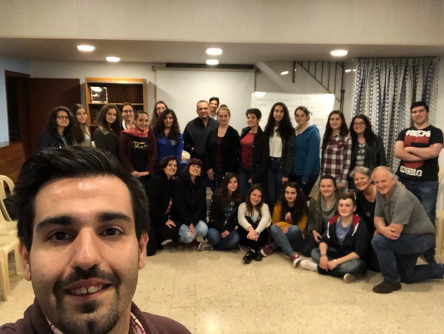 The youth in Anjar, with selfie-master Hagop Akbasharian (Besides taking photos, he is a Badveli and the principal of the Anjar school.)