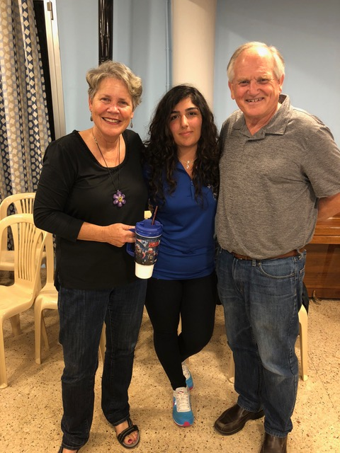 "In Anjar we met Sbedig . . . who called out, ""Hey! A New England Patriots cup!"" She had spent a year in Maine as an exchange student!! Happy moment!"