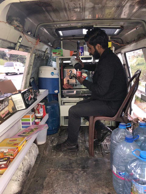And if you're not into DD or Starbucks, there's always the barista alongside the road, vending coffee from the back of his van.