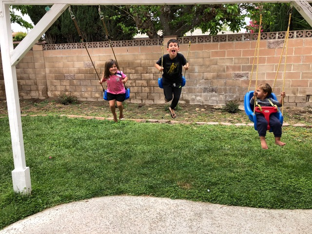 Papa hung a third swing in the backyard so all three can swing together!