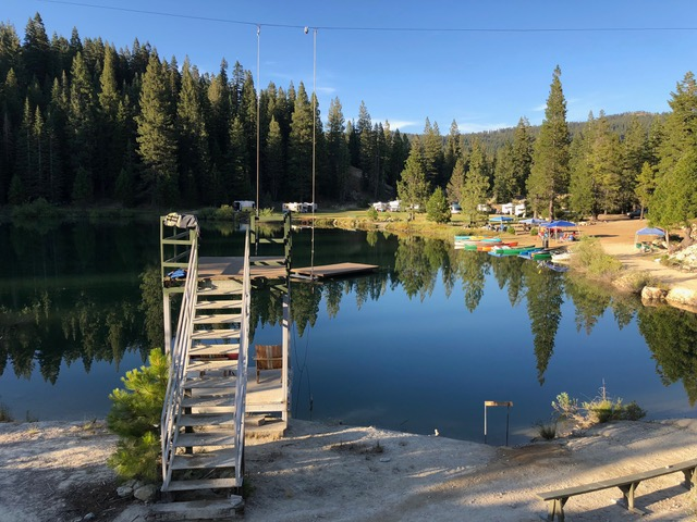 Pilot Lake was not tranquil like this from 2 to 5 every afternoon, as campers enjoyed fun activities on this beautiful lake.