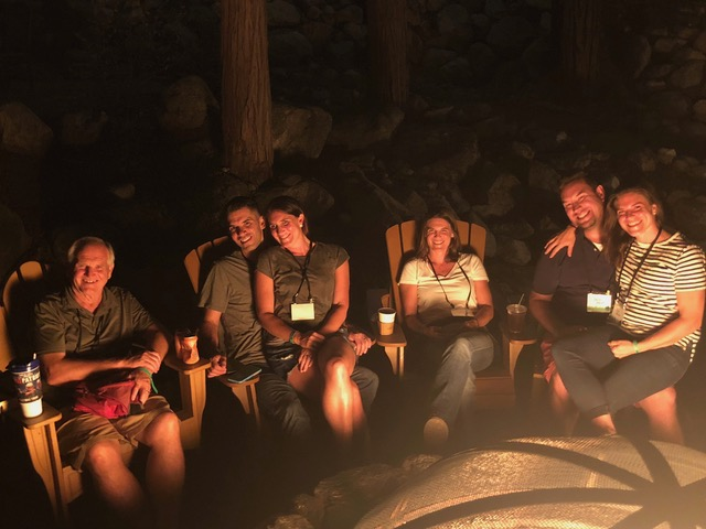 Childless, around the private campfire pit . . . a very sweet feature of Forest Home's family camp.