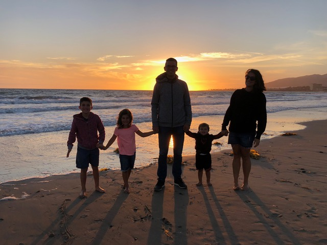 Early birthday celebration, watching the sunrise in Ventura.