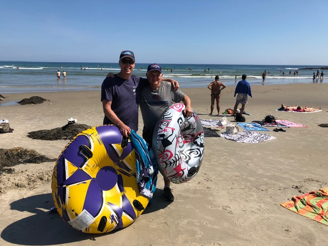 """Paul and John Nugent, buddies for almost 3 decades, with their """"down the river"""" floats."""