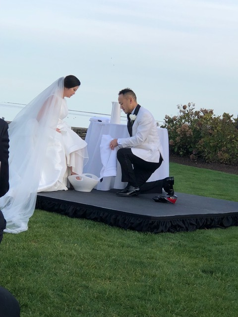 It was very moving to see them wash one another's feet during their wedding.