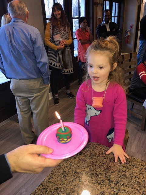 "Her ""Peppa Pig"" party featured a play-dough activity center, hence the play dough mini-cake crafted by one of the guests."