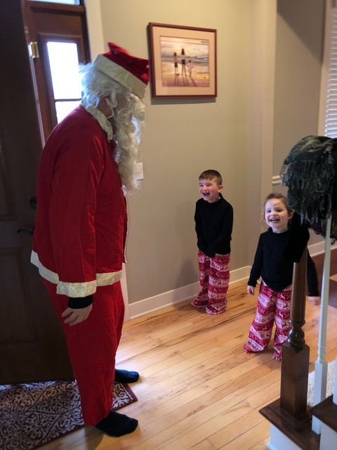 "Christmas morning . . . Santa arrived at the front door mid-morning, and was quickly identified as Papa as soon as he ""ho-ho-ho'd!"""