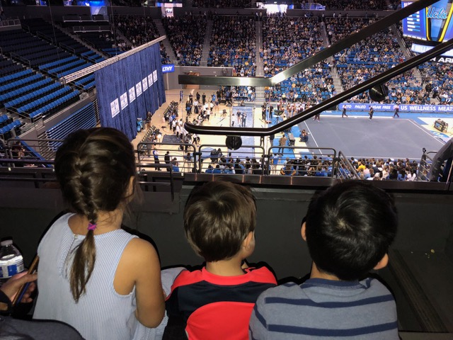 The 3 littles found the UCLA Women's gymnastics meet quite riveting.