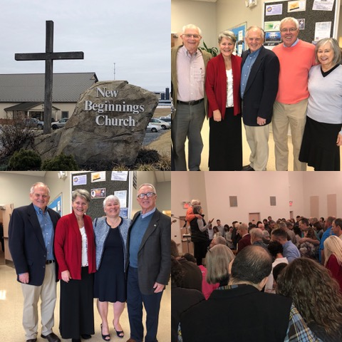 The leadership team of the Wingfields and the Horsts in the top photo; my sister and her husband, Thom, in the lower left. Couples gathering at the front of the church on the bottom right.