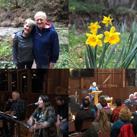 """Daffodils """"out"""" the fact that this photo was not taken in New England; lower left photo is Dave Burns and his daughter, Sarah, and her husband, Charlie, leading worship, and lower right is Dave welcoming the conferees."""