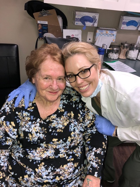 Mom and her dermatologist, Dr. Jennifer Rulan.
