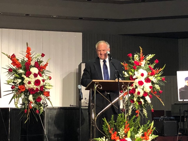 Paul eulogizing Dr. George Giacumakis on April 26 in Yorba Linda, CA.