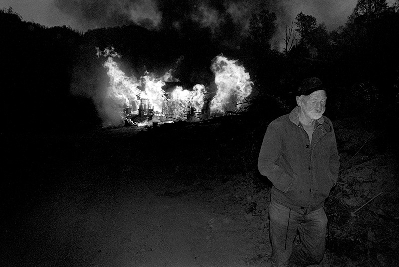 JD Thomas Walking Away from his Burning Home Place, Sprinkle Creek
