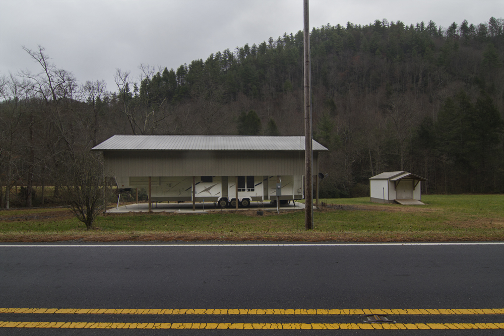 Permanent RV, Hwy. 212, Shelton Laurel, Madison County, NC, 2013 11 22. With Kelly Culpepper.