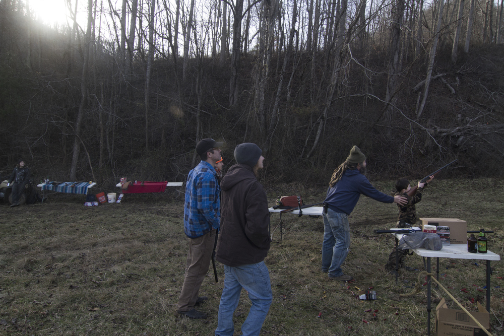 Gus shooting, Sprinkle Branch, Madison County, NC, New Years Day, 2014.