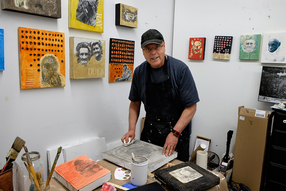 David Holt in his art studio in the River Arts District, Asheville, NC 2014