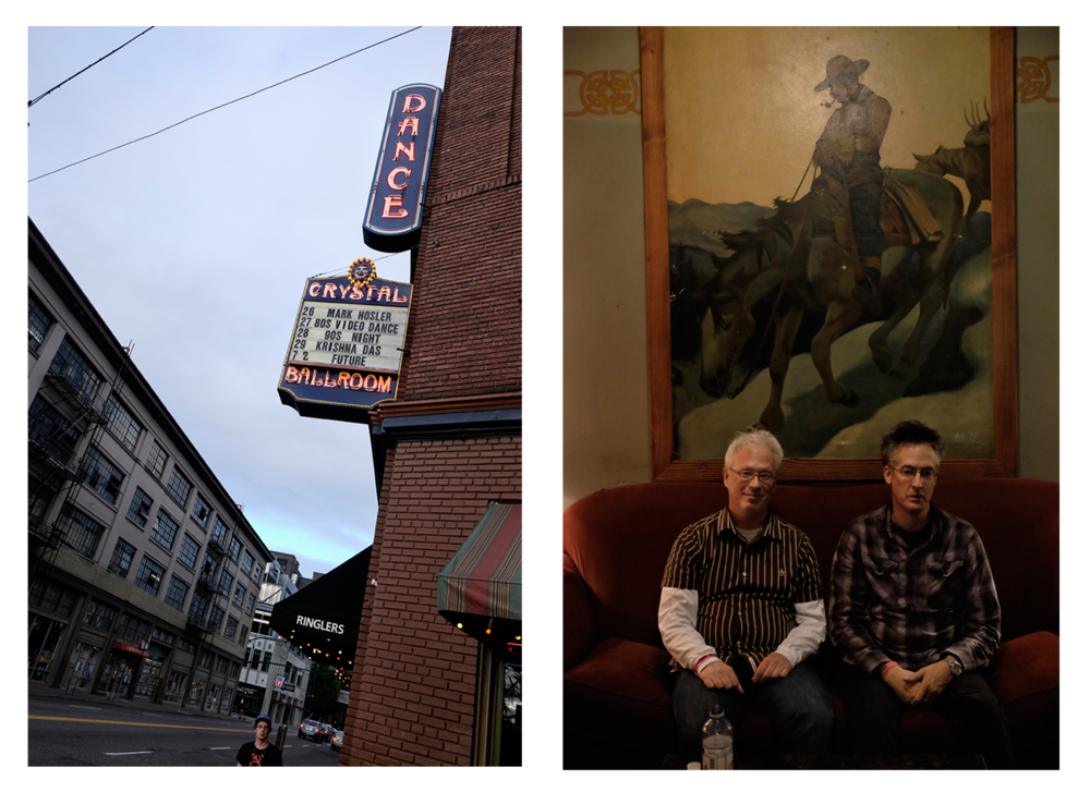 Left, Outside the Crystal Ballroom, Portland, Oregon, 2014 Right, Mark Hosler (right) and Doug Theralt (left) from the band, Office Products, in the Green Room at the Crystal Ballroom, Portland, Oregon, 2014
