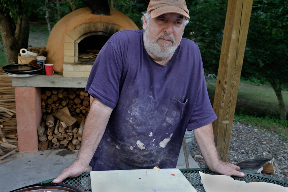 Paul manning the pizza oven, July 5, Anderson Branch 2014