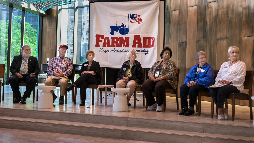 From left, John Zippert, Epps, AL; Benny Bunting, Oak City, NC; Betty Puckett, Natchitoches, LA; Lou Ann Kling, Granite Falls, MN; Shirley Sherrod, Albany, GA; Mona Lee Brock, Durant, OK; Linda Hessman, Dodge City, KS. Chicago, IL, 2015. top three photographs, Photograph copyright/Rob Amberg 2015. bottom photograph, Photograph copyright /Rob Amberg/Farm Aid, 2015.