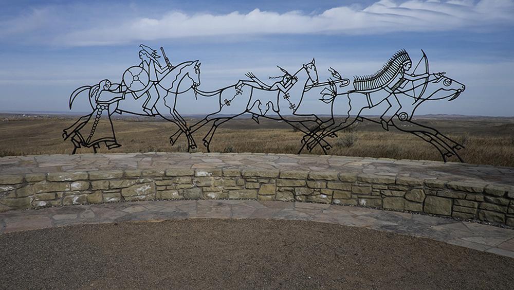 Indian Memorial themed Peace Through Unity,Little Bighorn Battlefield Memorial, Hardin, Montana