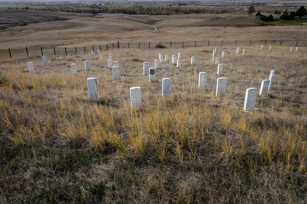 Little Bighorn Valley from Last Stand Hill, Little Bighorn Battlefield Memorial, Hardin, Montana. The markers represent the spots where individual soldiers fell.