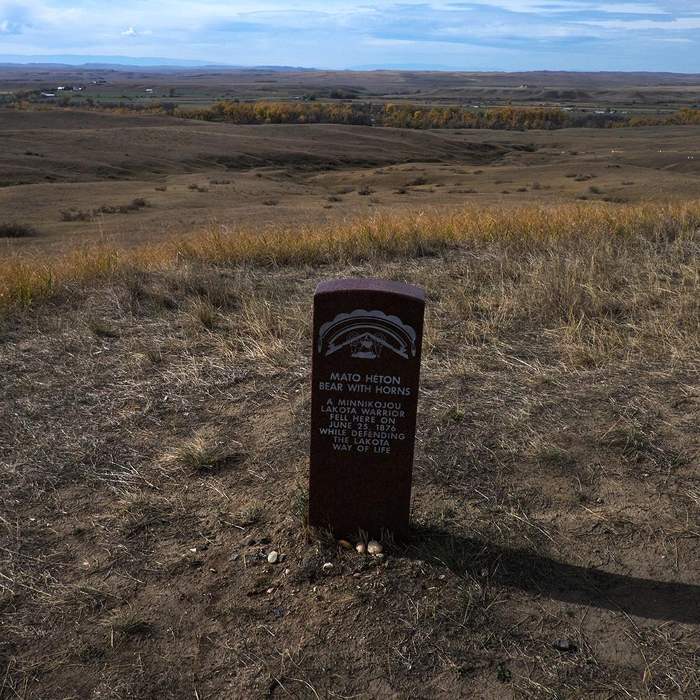 Memorial Marker for Lakota Warrior, Little Bighorn Battlefield Memorial, Hardin, Montana