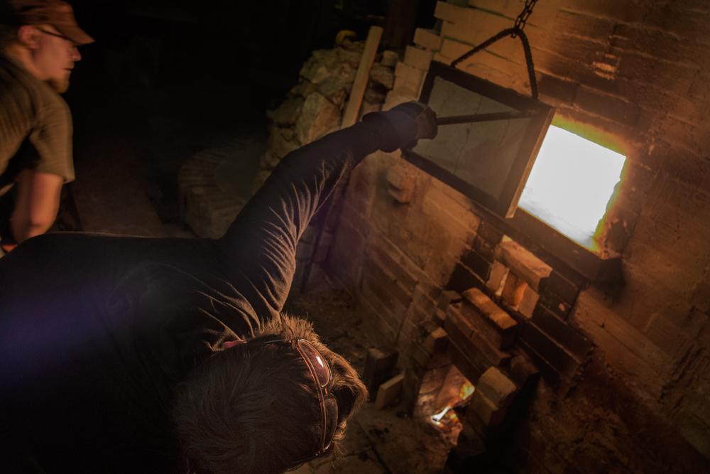 Josh Copus Firing His Kiln, Lower Brush Creek, Madison County, NC 2015 -Hands On,Revolve Gallery, Asheville, NC