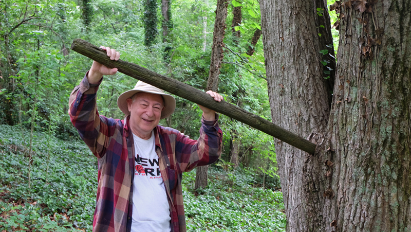 Carl Schinasi with his affectionately named  Dick Tree  in Birmningham, AL, 2015